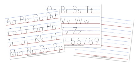 Four line pages for handwriting